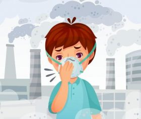 Kids and masks and environmental pollution vector