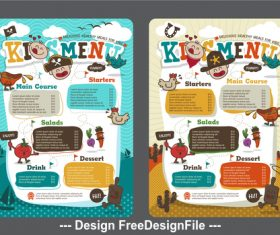 Kids restaurant menu vector