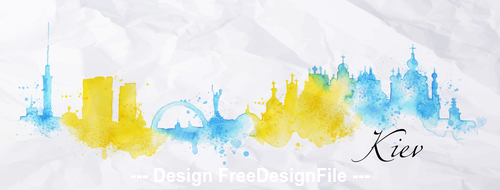 Kiev watercolor city silhouette vector
