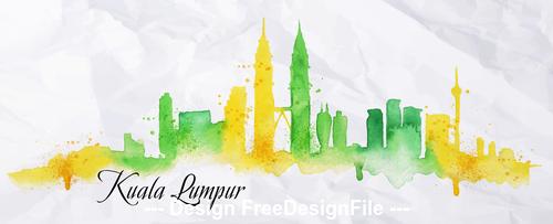 Kuala Lumpur watercolor city silhouette vector