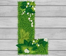 L floral letters vector