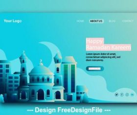 Light blue background Ramadan kareem landing page vector