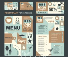 Light blue cover kids meal menu vector template
