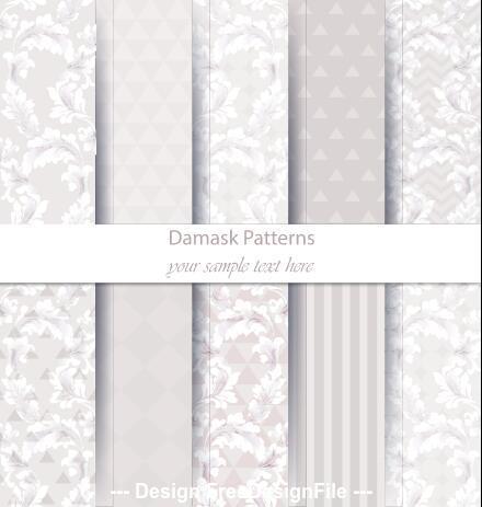 Light damask patterns vector