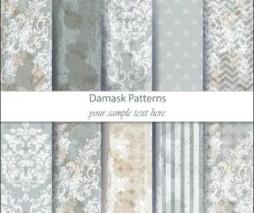 Light flower damask patterns vector