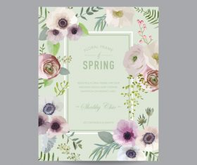 Light green background floral frame card vector