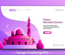 Light purple background Ramadan kareem landing page vector