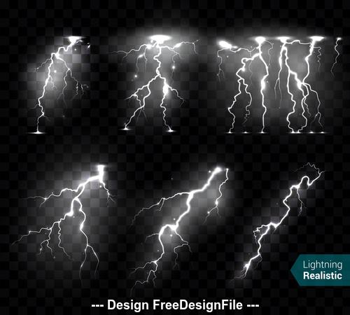 Lightning night sky realistic illustrations vector