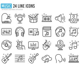 Line music icon vector
