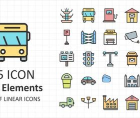 Linear city elements icon vector