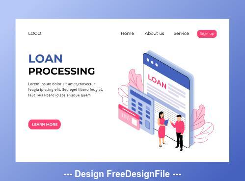 Loan processing isometric page vector