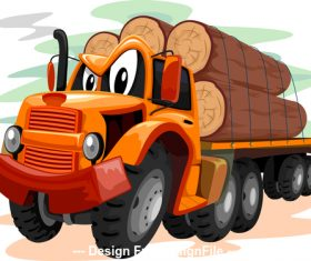 Logging truck cartoon vector