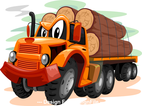 Logging truck cartoon vector