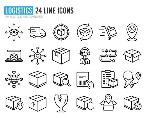 Logistics line icon vector