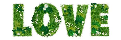 Love floral letters vector