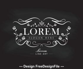 Luxury logos hand drawn frame label vector