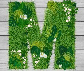 M floral letters vector