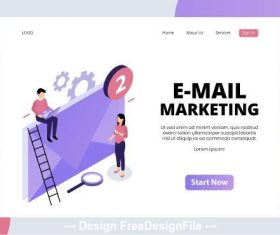 Mail marketing isometric page vector