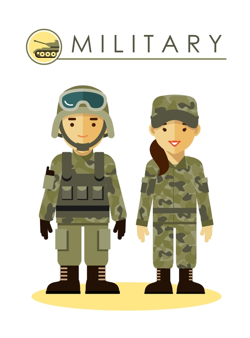 Male and female soldier cartoon pattern vector