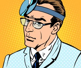 Male comic pop art style vector