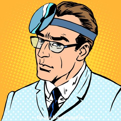 Male comic pop art style vector