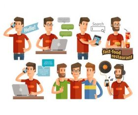 Man conversation background vector
