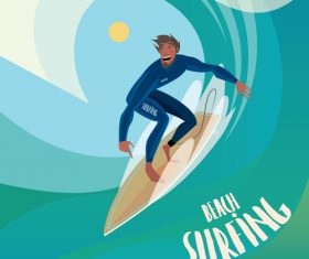 Man on a surfboard to ride the wave vector