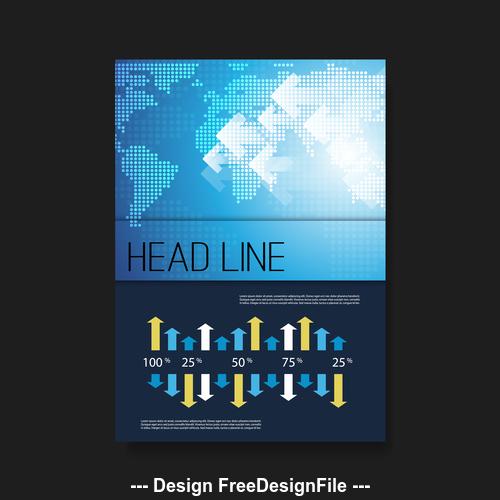 Map background flyer brochure design template vector