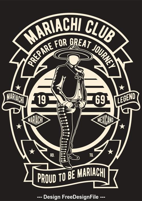 Mariachi club emblem design illustrations vector
