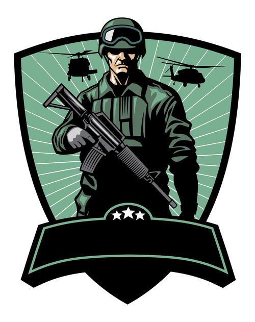Marine corps cartoon pattern vector