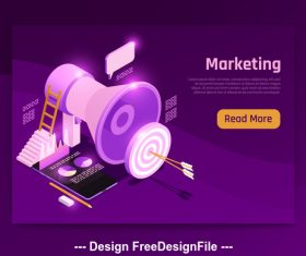 Marketing isometric symbols vector