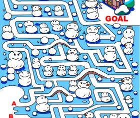 Maze snowman vector
