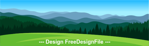 Meadow mountains nature landscape vector