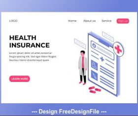 Medical health isometric page vector