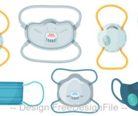 Medical masks and environmental protection masks vector set