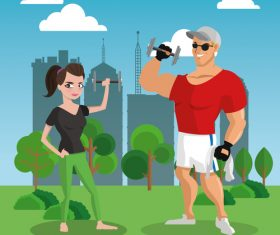 Men and women arm exercise vector
