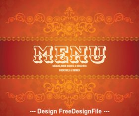 Menu food cover vector