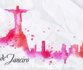Monte cristo brazil watercolor city silhouette vector