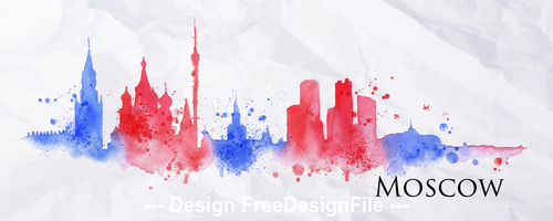 Moscow watercolor city silhouette vector