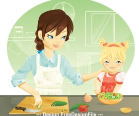 Mother and daughter cooking vector