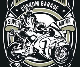 Motorcycle emblem design illustrations vector