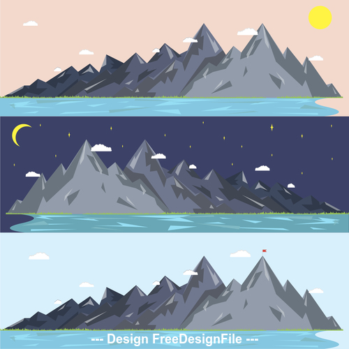 Mountain day and night change nature landscape vector
