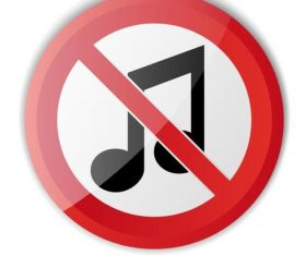 Music prohibition sign vector