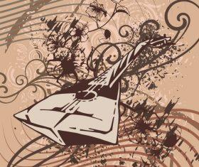Musical instruments grunge background vector