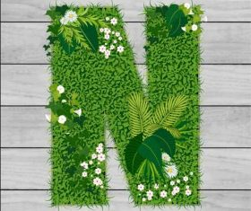N floral letters vector