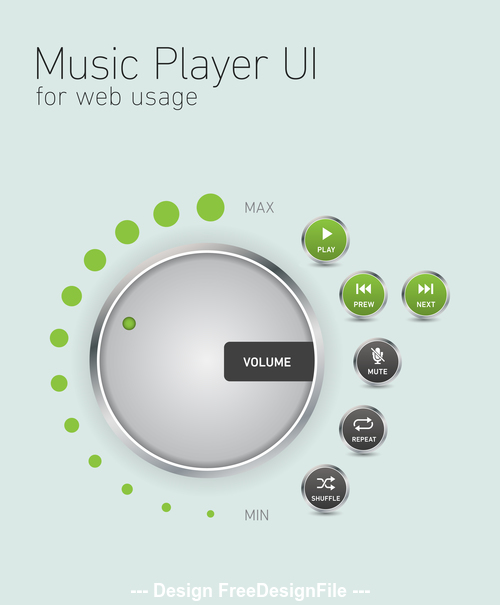 Network music player button design element vector
