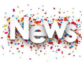News font and confetti vector