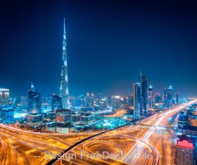 Night dubai downtown skyline dubai united arab stock photo