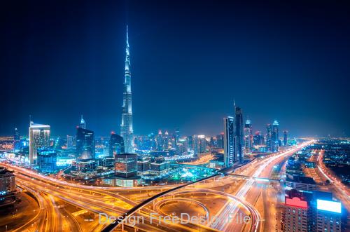 Night dubai downtown skyline dubai united arab stock photo