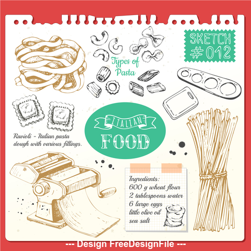 Noodle sketch illustration vector